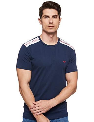 Emporio Armani T-Shirt Uomo Giro Collo Manica Corta, in Cotone Tinta Unita con Logo sulle Spalle a Contrasto. XXL