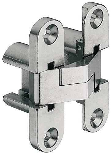 JUVA Türband vernickelt Tür-Scharnier VICI zum Montieren Möbel-Scharnier zum Schrauben - H9970 | Öffnungswinkel 180 ° | 1 Stück Klappenbeschlag für unsichtbaren - verdeckten Anschlag