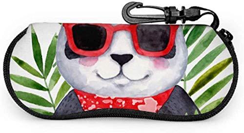 MODORSAN Gafas Panda Linda funda divertida para gafas Funda para gafas para niños Funda ligera de neopreno portátil con cremallera Funda blanda Funda para gafas para niños