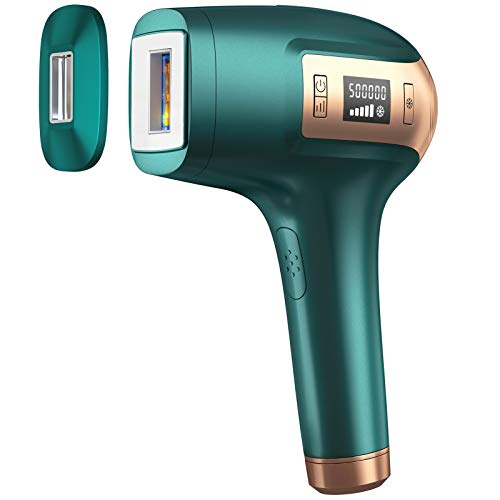 IPL Permanent Laser Hair Removal Device, S.V.G.E.V Painless Epilation for Women & Men, Home Use Hair Remover for Facial Whole Body - 500,000 Flashes, ICE Cooling System, 2 Size Lamp Caps(Emerald)