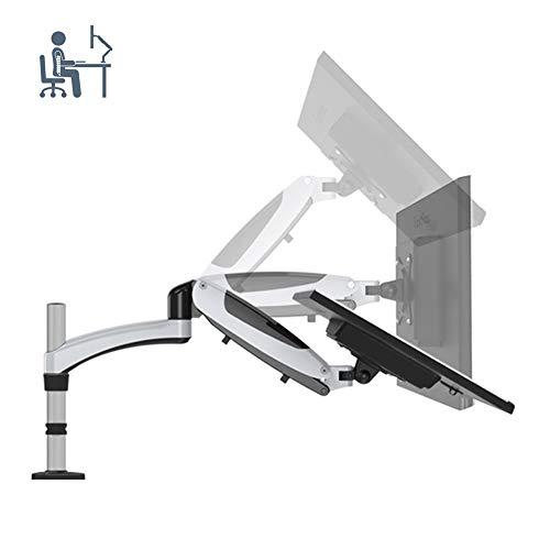 ELEYHO Monitor Bureau Bevestiging Arm Computer Monitor Stand Hoogte Verstelbaar Compatibel met VESA 75 100 Past voor 15-27Inch Computer Scherm Tot 8Kg