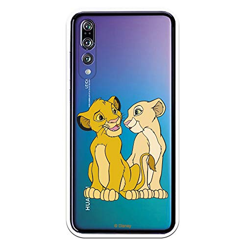 Funda para Huawei P20 Pro - P20 Plus Oficial de El Rey León Simba y Nala Silueta para Proteger tu móvil. Carcasa para Huawei de Silicona Flexible con Licencia Oficial de Disney.