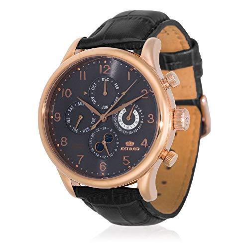 Reloj Jost Burgi automático para hombre, 40 mm, esfera gris, correa de piel negra, HB4B73CgBC1