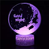 Hermosa buena noche base agrietada luz de visión 3D acrílico multicolor luz de noche luz LED multicolor decoración creativa lámpara de mesa pequeña