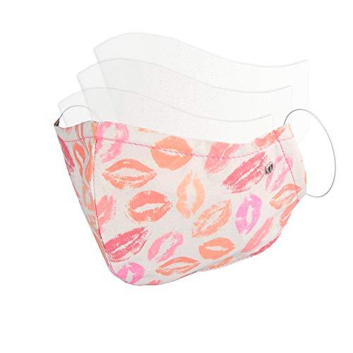 Mundschutz Stoff Maske Gesicht Kussmund Design Weiss Bunt Damen - Filter Fach Eingenäht Für Filterwechsel (Mit 3 Waschbaren Ersatzfiltern) - Austauschbar Wiederverwendbar Waschbar MADE IN GERMANY