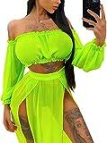 Vestido de Playa 2 Piezas Traje de Baño para Mujer Cubierta de Bikini Crop Top Camiseta Corta de Manga Larga Falda Larga con Aberturas Pareo Cover Up Verano de Encaje para Viaje Vacaciones, Verde