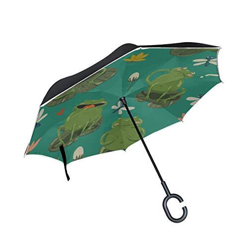 Double Layer Inverted Klappstuhl Regenschirm Nette Frösche und Libellen Reverse Closing Umbrella Umbrella Folding Winddichter UV-Schutz für Regen mit C-förmigem Griff