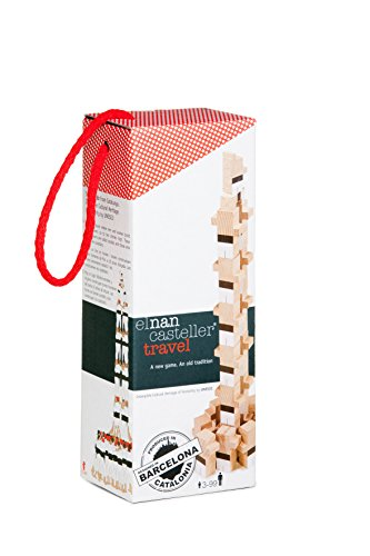 El Nan Casteller-V03 Juguetes de Madera Castellers para Montformato Travel | Juegos de Construcción 20 Piezas, Color Blanco/Negro, Talla Única (v03)