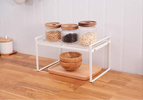 HYGJNM Aufbewahrungsbox für die Küche Küche Eisen Dressing Materialien Regal Schrank Isoliert Doppelschicht Edgy Leaching Rack Aufbewahrungsgestell 33.2x21x14.6cm weiß