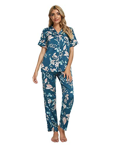 GOSO Pijama de satén para Mujer con Botones de Seda Floral Manga Cortos y Pantalones Ropa de Dormir...