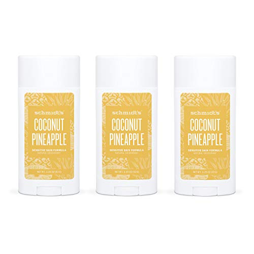 Schmidt's Aluminum Free Natural Deodorant for Women and Men, Coconut Pineapple for Sensitive Skin with 24 Hour Odor Protection, Certified Cruelty Free, Vegan Deodorant, 3.25 oz 3-pack