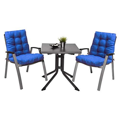 Pack 2 Cojines de Silla con respaldo para Jardin. Conjunto de 2 cojines para sillones de Interior y Exterior Cómodo. Cojines para sillas con respaldo, cojines sillones, mecedoras terraza. (Azul claro)