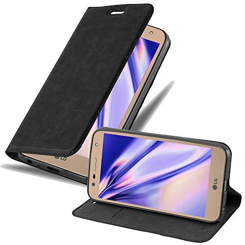 Cadorabo Hülle für LG X Power 2 in Nacht SCHWARZ - Handyhülle mit Magnetverschluss, Standfunktion & Kartenfach - Hülle Cover Schutzhülle Etui Tasche Book Klapp Style
