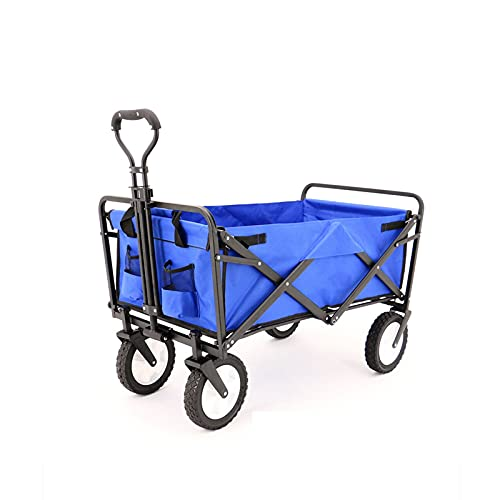 YiShuHua Coche de Carretón, al Aire Libre Todas Las Manos Terreno con pecamuelos frenado Ancho, Salas Bebidas Malla, Mango Ajustable, camión Camping para Pescar (Color : Blue)