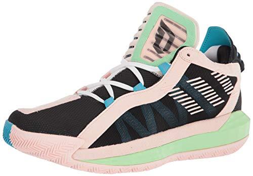 adidas unisex-adult Dame 6 GCA Basketball Shoe, Core Black/White/Glory Mint, 10.5 M US