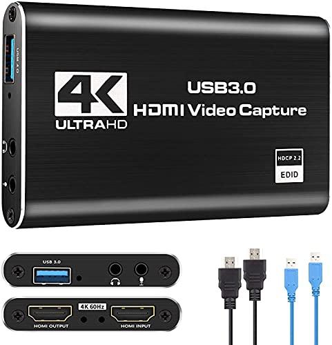 Adhopee Carte de Capture Vidéo USB 3.0, HDIM 4K 60HZ Entrée/Sortie, Carte de Capture Audio Vidéo avec Microphone et Écouteurs pour Appareil Photo, Streaming en Direct et Plus (USB 3.0 / HDMI Inclus)