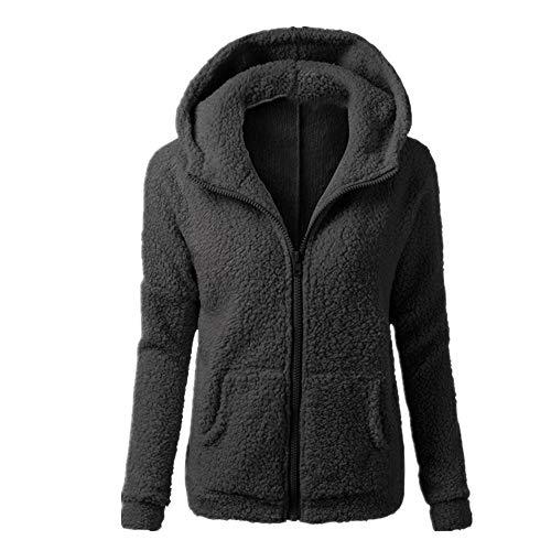 Abrigo de lana para mujer Sherpa con capucha y cremallera para invierno cálido