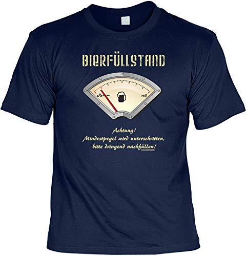 Fun T-Shirt: BIERFÜLLSTAND, Pegel Wird unterschritten, Navy-Blau, passend zur Wiesn und jedem Anderen Bierzeltbesuch