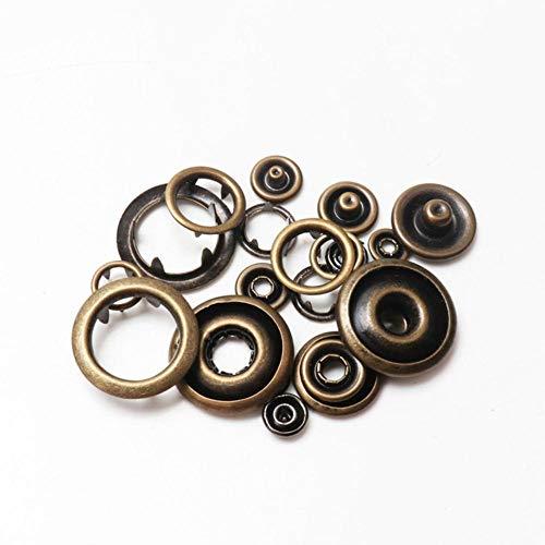 Botones a presión de punta de metal Sujetadores Pernos de presión Hebilla de mameluco de bebé Broche 50 juegos (4 piezas 1 juego) 7.5/9.5 / 11mm-3,9.5mm