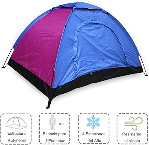 ALLPER Tienda de campaña de fácil Montaje, Polyester y Varillas de Acero Resistente. 4 Personas, Color: Azul Y Rosa. Medidas: 200 x 200 x 125 cm. Impermeable.