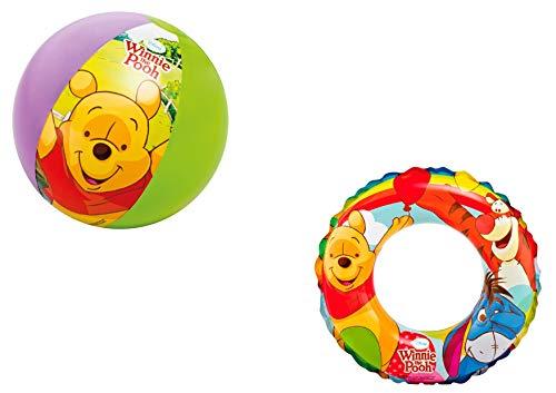 JOVAL -Set Infantil para Piscina de Winnie The Pooh. Pelota, Flotador y Manguitos. Buen Vinilo, Resistente al Agua y Rayos UV. con válvulas de Seguridad para la máxima Seguridad.