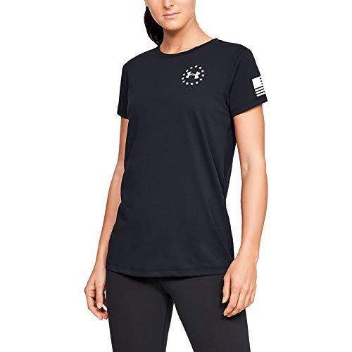 Under Armour Women's Freedom Flag T-Shirt , Black (001)/White , Large