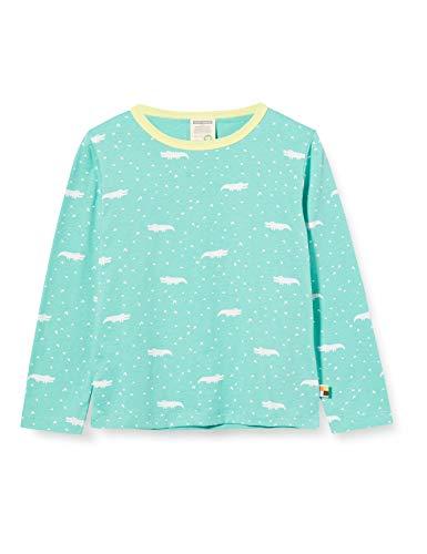 loud + proud Mädchen Longsleeve Shirt Allover Print Organic Cotton Langarmshirt, Grün (Mint Min), (Herstellergröße: 86/92)