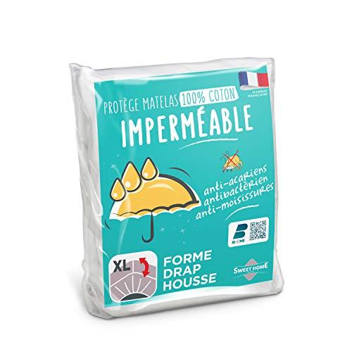 SWEET HOME Sweethome - Protector de colchón Impermeable (90 x 190/200 cm, muletón 100% algodón, antiácaros, Suave y silencioso, Forma de sábana Bajera, Lavable a máquina