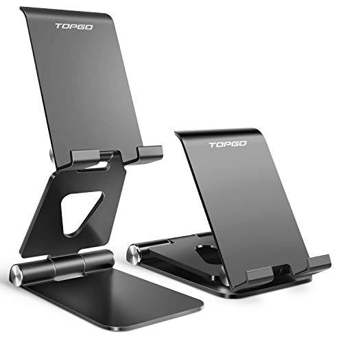 TOPGO 【日本正規品】スマホ 折り畳み 卓上スタンド アルミ製 横, 縦, 角度調整可能 携帯スタンド アイフォーン充電スタンド 持ち運びやすい 滑り止め付き iPhone 11 Pro XS XS Max XR X 8 plus 7 7plus 6 6s 6plus, Sony Xperia, Nexus, androidなどの4-8インチデバイスに対応(ブラック)