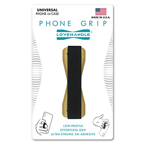 LOVEHANDLE Universal Grip For Most Smartphones, Mini Tablets and Cases - Black Elastic Strap with Metallic Gold Colored Base