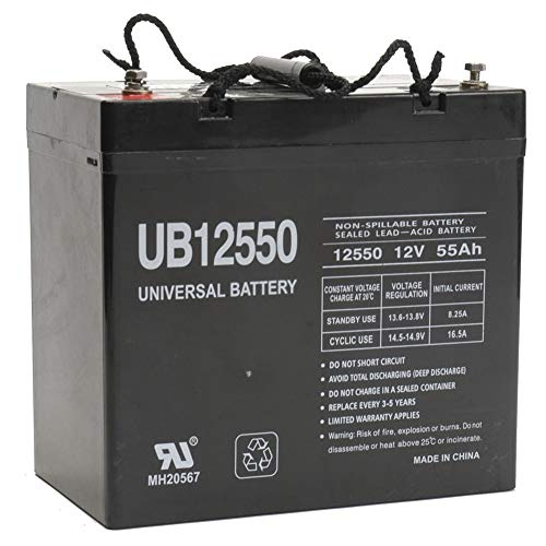 Universal Power Group UB12550 12V 55AH Internal Thread Replacement Battery for 6FM55SG-X, MX-12600