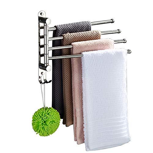 lijunjp Schwenkbarer Handtuchhalter, 4-Armiger Handtuchhalter aus Edelstahl, ohne Bohren, Wandhalterung, poliert, für Badezimmer, Küche, Wohnzimmer