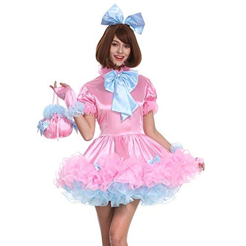 GOceBaby Sissy Mädchen Abschließbares Dienstmädchen Bogen Pinkes Kleid Satin Blasenrock Crossdress Uniform (XL)