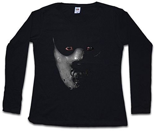 Urban Backwoods Hannibal Mask Women T-Shirt Mujer Camiseta de Manga Larga Negro Talla 2XL
