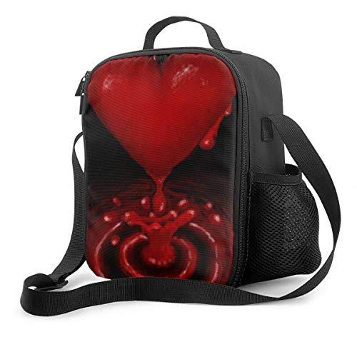 Bolsa térmica Bolsa de almuerzo aislada reutilizable, mi lonchera de corazón sangrante solitario Lonchera térmica con bolsa de bolsillo para el trabajo escolar Viajes al aire libre