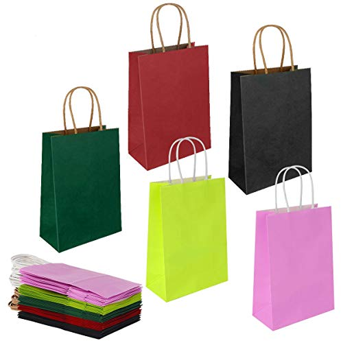Gaoyong 15 Stück Papiertüten Bunt 32*26*12CM,Papiertüten,Papiertüten mit Henkel,Geschenktüten,Kraftpapier tüten (verdicken 130gsm)