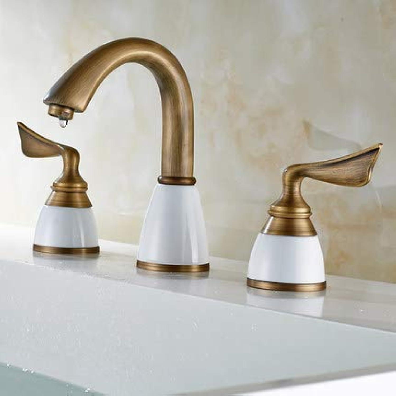 YBHNB Bathroom Sink Taps, Luxury European 3 Hole Basin Faucet Copper Bathroom Cabinet Split Faucet 3 Piece Antique Ceramic Faucet