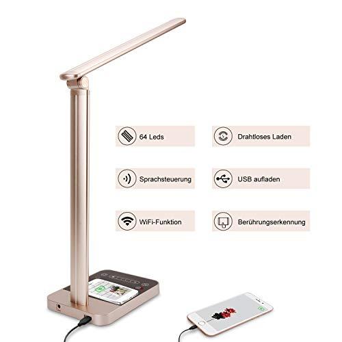 Schreibtischlampe Led, Cofunkool Intelligent Tischlampe Dimmbar mit WiFi und Kabellosem Ladegerät Augenpflege, Schreibtischlampe Tageslicht Energieeffizient with Timer-Speicherfunktion USB-Anschluss