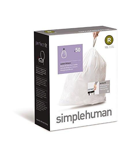 simplehuman Code R Custom Fit Trash Can Liner 10 L / 2.6 Gallon, 50 Pack