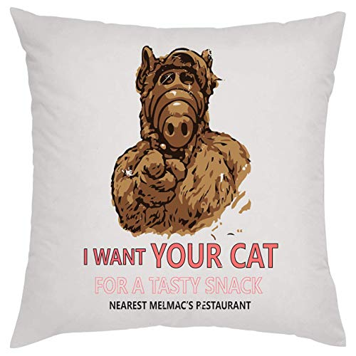 NoMoreFamous I Want Your Cat for A Tasty Snack Alf Melmac Kissen Pillow