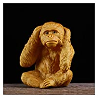 3つのモンキー動物の像は聴かないではない言うことはないボックスウッドカービングクリエイティブウッド彫刻工芸品車の装飾 (色 : C)