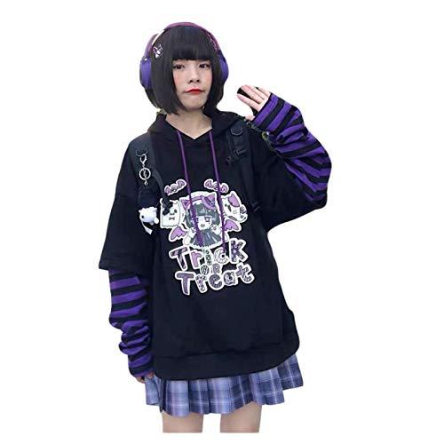 N\C Harajuku Sudadera con Capucha y Sudadera para Mujer Estampado de Anime Manga Larga Tallas Grandes Suéter Suelto Top