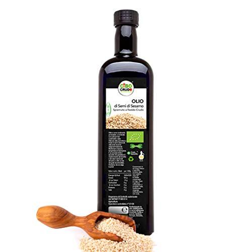 CiboCrudo Olio di Semi di Sesamo Bio, Alimentare Spremuto a Freddo, da Utilizzare in Cucina per Arricchire Ricette Salate, Conserva le Naturali Proprietà del Sesamo – 250 ml