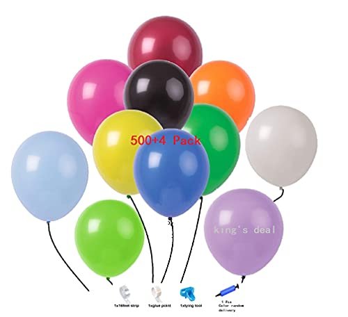 king's deal 500 Pack Party Balloons 12 inch Thickened Colourful Balloon for Birthday Decorations Party Supplies Party Balloon Decoration balloon toy balloon (500 Pcs)