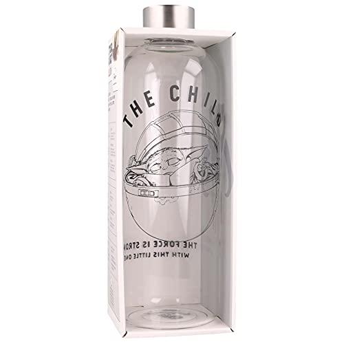 Stor The Mandalorian | Botella De Agua De Cristal De Borosilicato Reutilizable - 1030 ml - Botella De Agua De Vidrio con Tapón Hermético