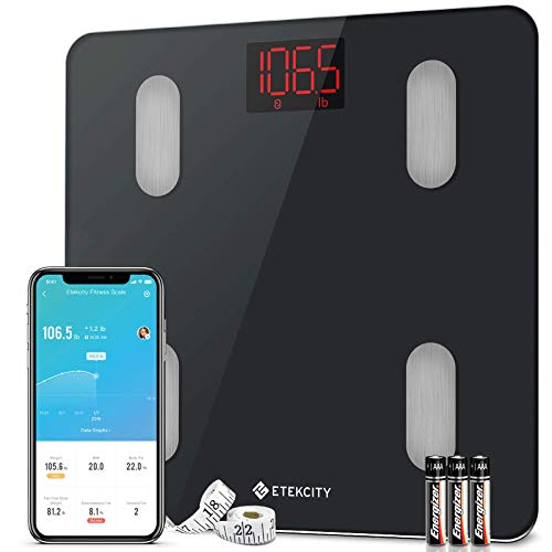 Etekcity Digital Weight Scale, Smart Bluetooth Body Fat BMI Monitor, Bathroom Weighing Tracker, 13 Key Fitness Compositions, 11 x 11 inches, Black