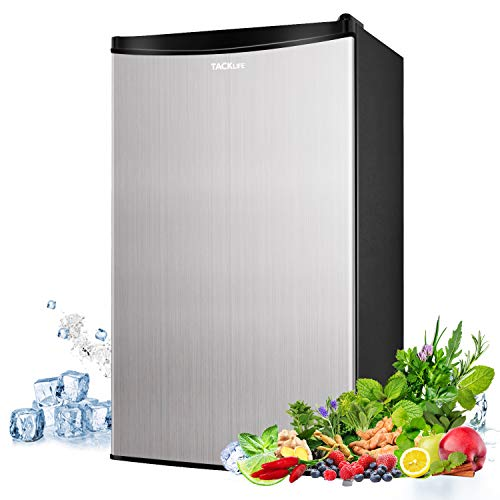 Mini Fridge, TACKLIFE 3.2 Cu Ft Mini Refrigerator with Freezer, 1 Door, 37DB Low noise for Bedroom, Office, Apartment, RV or Dorm with 5 Adjustable Thermostat Control, Crisper Drawer, Silver- MVSFR321