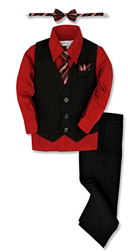 Johnnie Lene JL40 Pinstripe Boys Formal Dresswear Vest Set (4T, Black/Red)