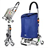 FXBH 2 in 1 Faltbarer Einkaufswagen mit Rädern, Einkaufswagen klappbarer Treppenwagen - 6-Rad-Kinderwagen - Jede Seite 3 Räder, Tragfähigkeit 50 kg