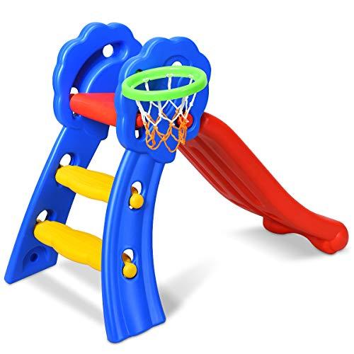 COSTWAY Rutsche Kinder Rutschbahn Kinderrutsche Gartenrutsche Wellenrutsche Kleinkinderrutsche für Indoor und Outdoor mit Basketballkorb 108 x 68 x 71,5cm Bunt